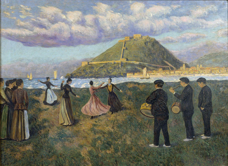 Image of the painting Basque Celebration (dance at El Antiguo, San Sebastián) . Santiago Espona Bequest, 1958