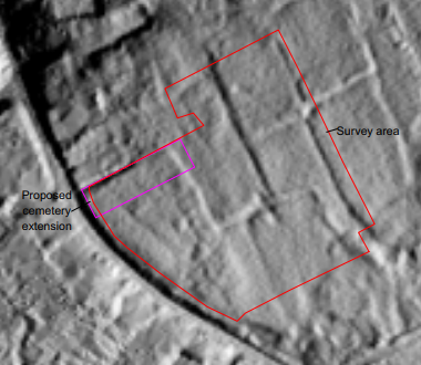 A digital elevation model showing where the survey site was and features that were found.