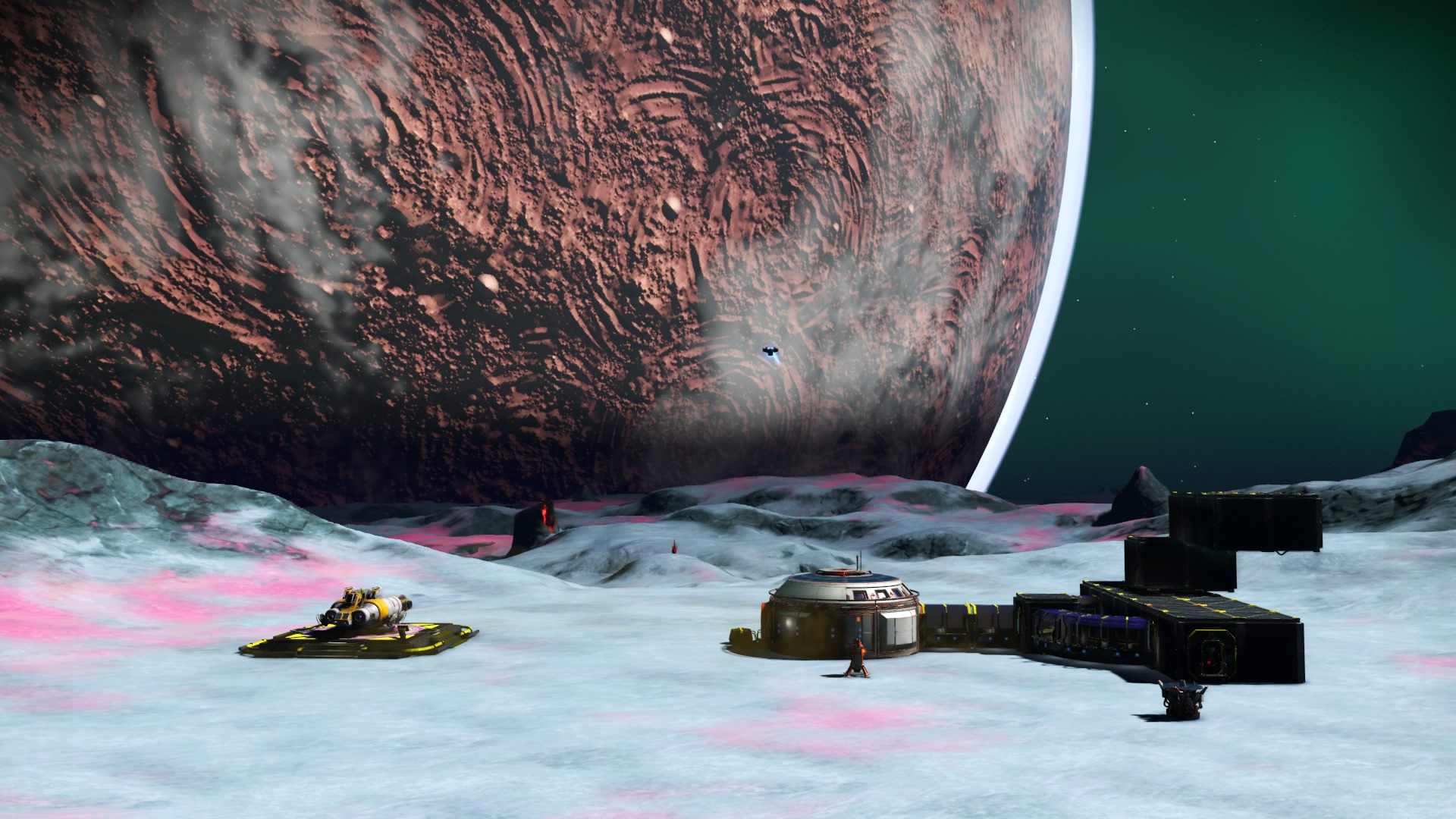 Screenshot of a location in the No Man's Sky video game showing a moon and the Arpinsarypov Mother Base.