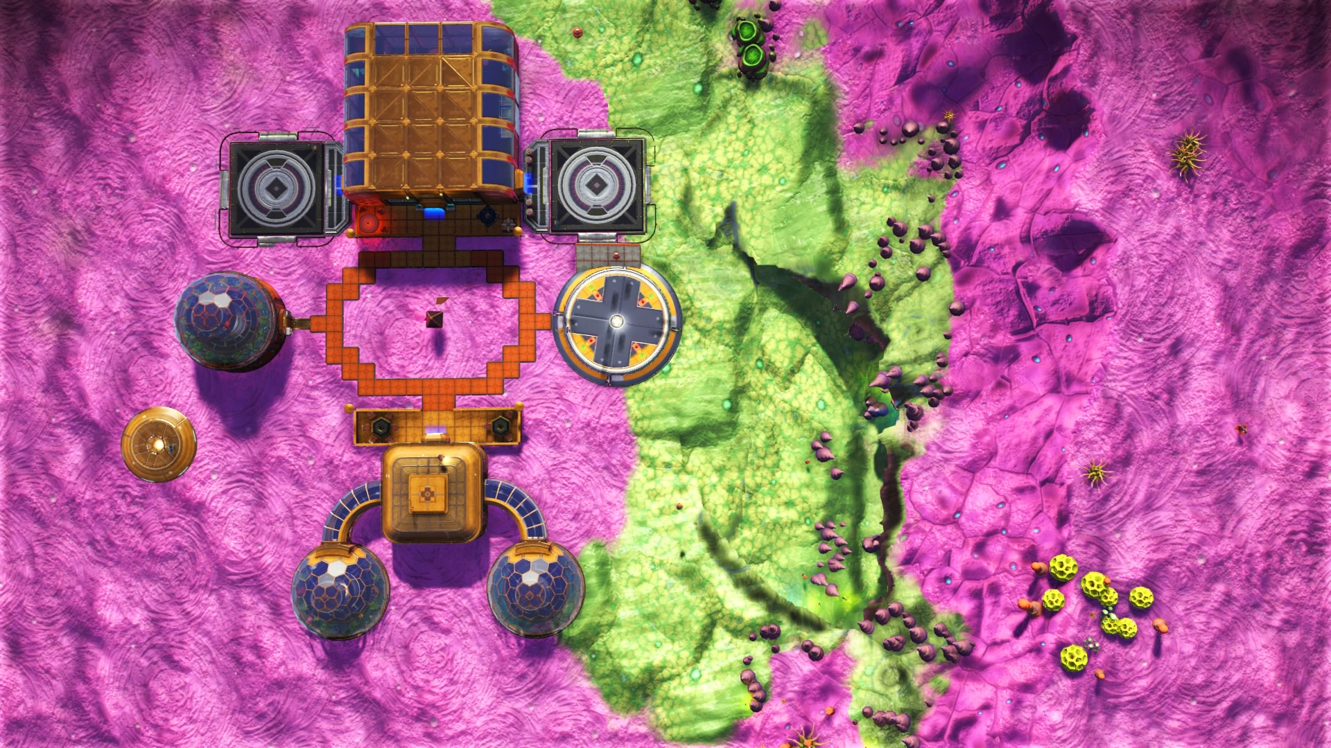 A drone's-eye view of Galactic Hub founder Syn1334's base, which became a pilgrimage site in No Man's Sky.