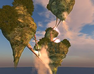 Image from Second Life creations (floating turnips maybe?). Image Andoni Merlin CC BY 2.0