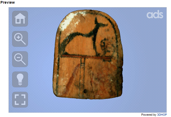 Image of an artefact in the 3D hop viewer.