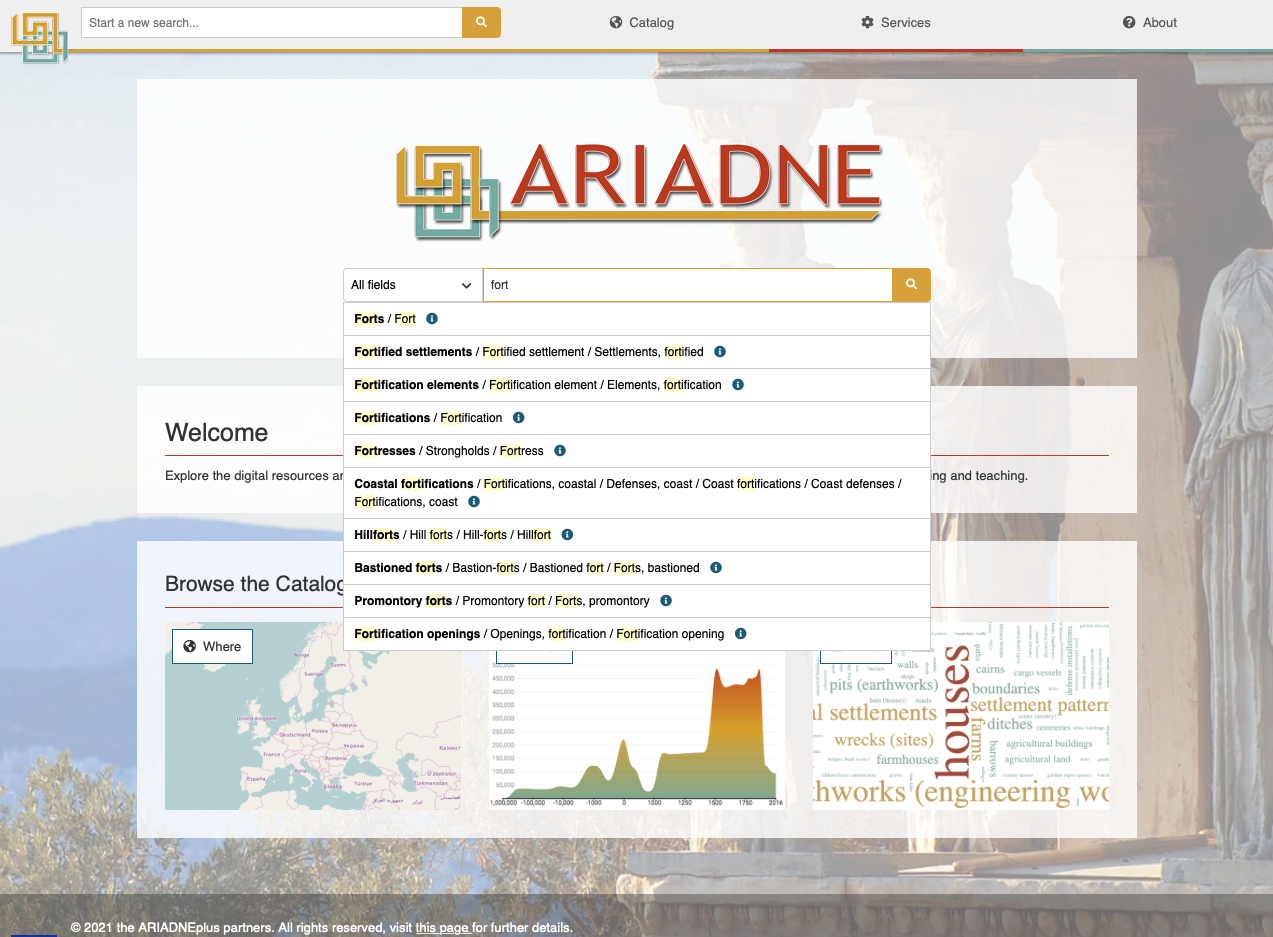 A screenshot of the portal showing the auto-complete function when searching for the first time.