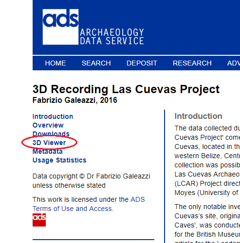 Screenshot of the ADS archive sidebar highlighting 3d Viewer link.