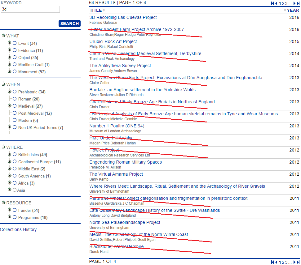 Figure 2: Screenshot of the archive search results for a keyword search for 3D