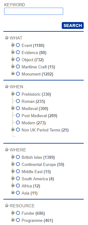Figure 1: Screenshot of the ADS Archive facets sidebar.