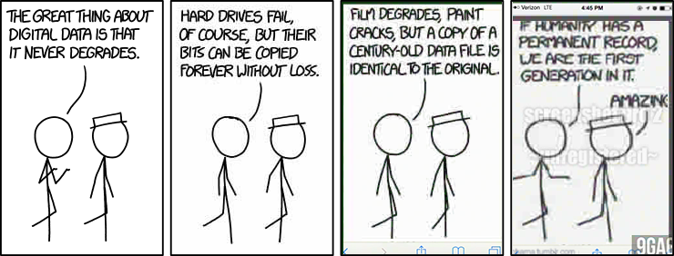 A comic strip that talks about how great digital data is and how it never degrades while have the quality of the image become more degraded in each panel.