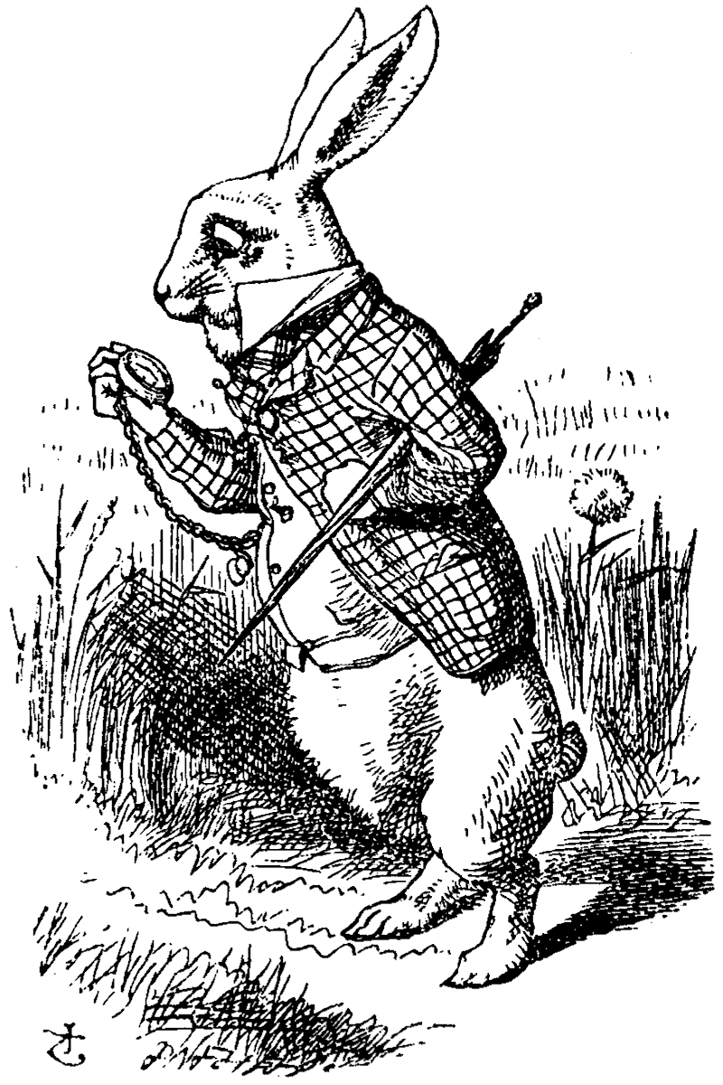 Image of the Rabbit from the novel Alice in Wonderland. Used to represent falling down library rabbit holes. Image source: John Tenniel, Wikicommons