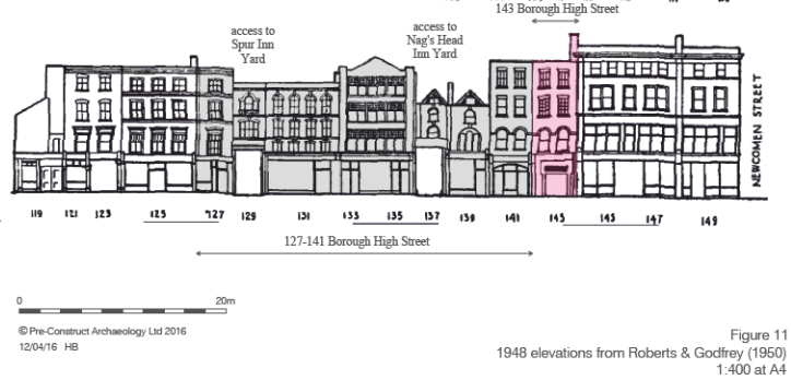Drawing showing building elevations of numbers 127-141 Borough High Street as they were in 1948.