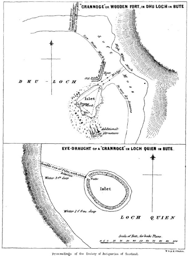 Figure 2. Plans of crannogs recorded by Mackinlay (1857-8), including Dhu-Loch (1812) (top) and Loch Quien (1814) (bottom).  The plans show that the Islets were connected to land by a bridge about 50-60 feet long, made of a double row of pliers with stones in between.  The water around this bridge was around 21 inches and if the water was low could create a land bridge.