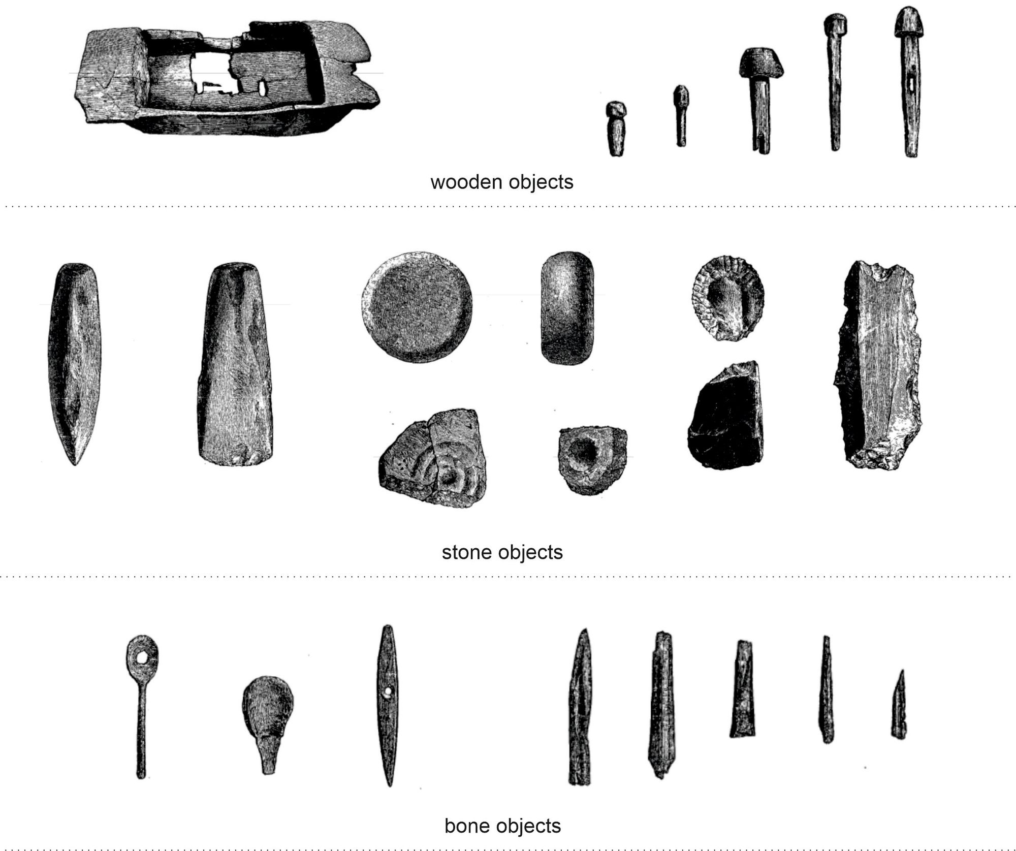 Figure 3. Some of the many objects recovered during the excavation of Lochlee crannog by Dr Robert Munro (1878-79).  Includes wooden nails, stone beads and weapons, as well as bone needles and spoons.