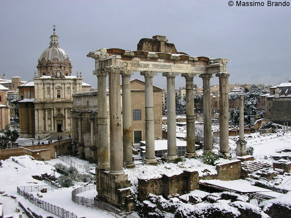 Snow frosted Temple ofSaturn in Rome. Competition winning image.