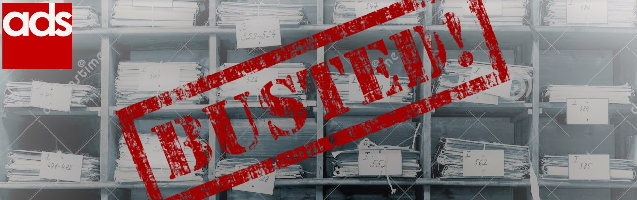 Image of documents on shelves with the ADS logo and the text 'busted!'