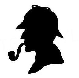 Black and white illustration of the profile of Sherlock Holmes smoking a pipe.
