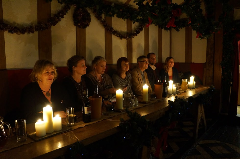 ​The 'nobles' in the group seated at high table at the start of the medieval banquet at Barley Hall.