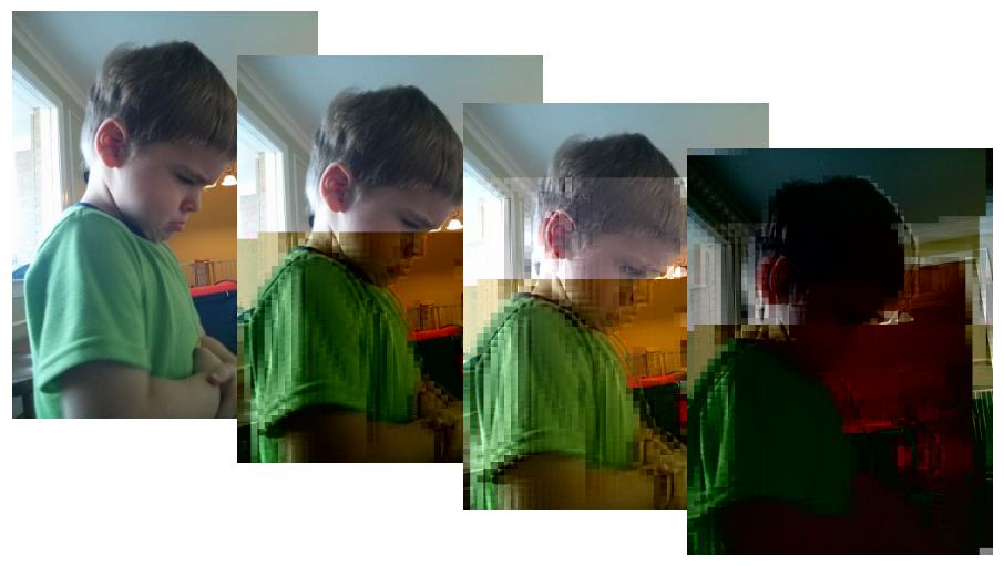 This image shows a picture of a child which is clear in the first image.  Then in the second image, halfway down the image becomes pixelated and the colours are distorted.  On the third, this happens again a fourth of the way down and the previous distortion is even more pixelated.  The fourth and final image is very dark and only the outline of the child and background are recognisable.