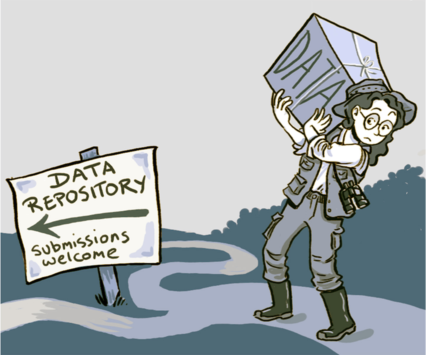 Cartoon showing the way to a data repository.
