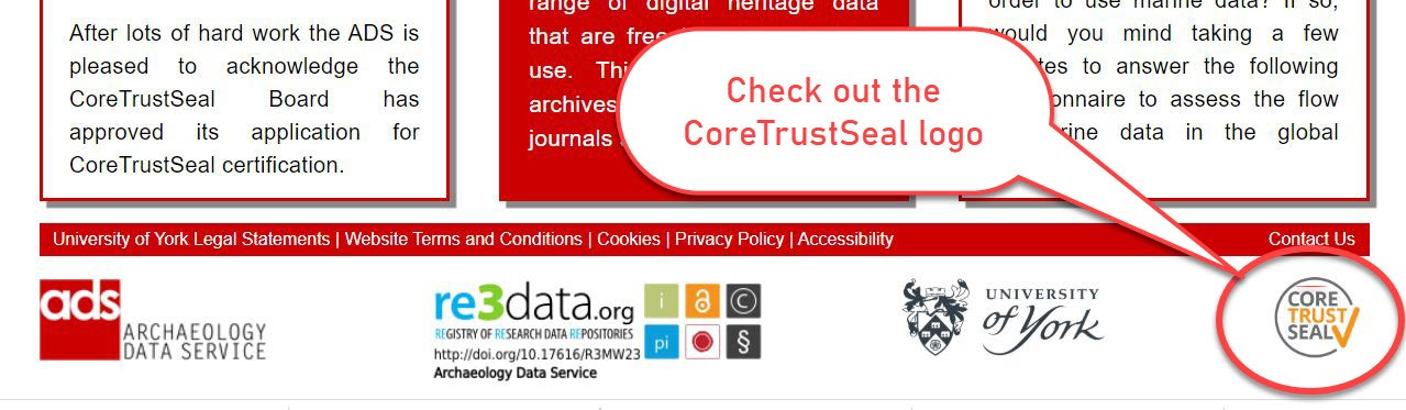 Tag line of ADS website showing Core Trust Seal logo displayed. With description 'Check out the Core Trust Seal logo'.