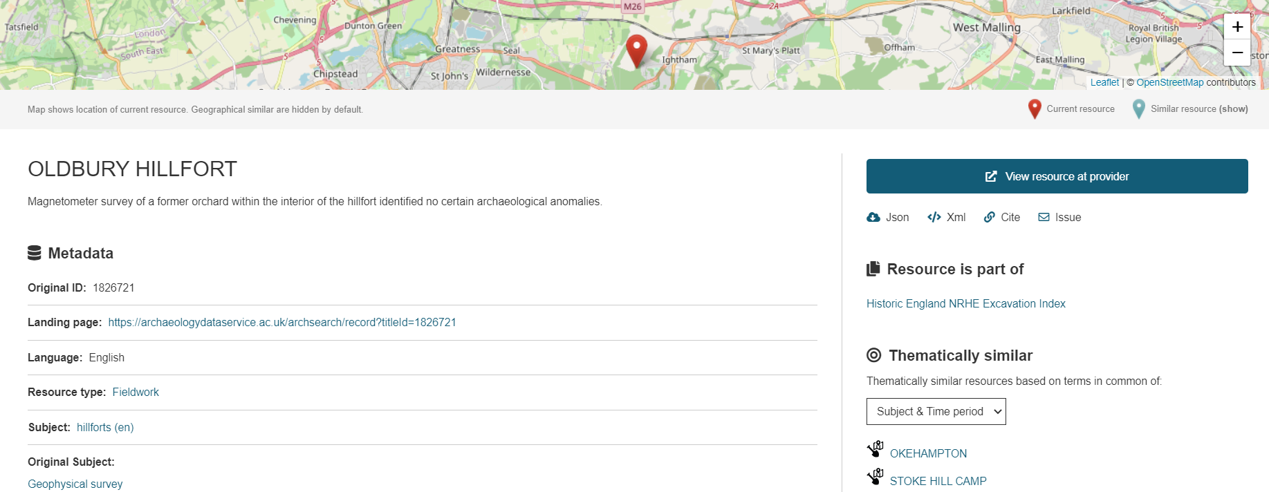 A screenshot of the portal showing the metadata for Oldbury Hillfort.