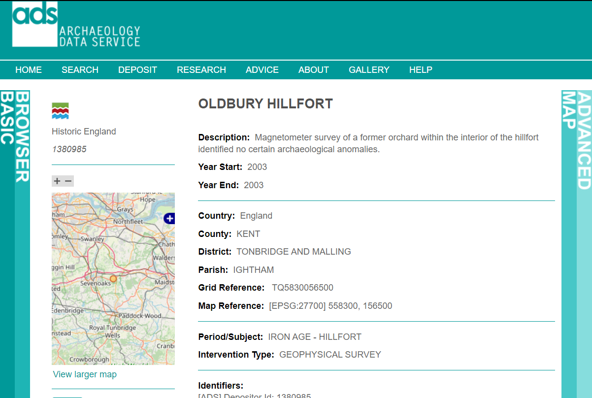 A screenshot of the ADS Archsearch showing the data for Oldbury Hillfort.
