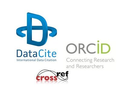 Datacite, ORCID and Crossref logos.