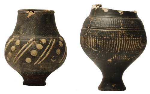 3rd century AD Pakenham colour-coat beaker (left) and 4th century AD Nene Valley colour-coat pentice moulded beaker from excavations at The Babraham Institute, Cambridgeshire.