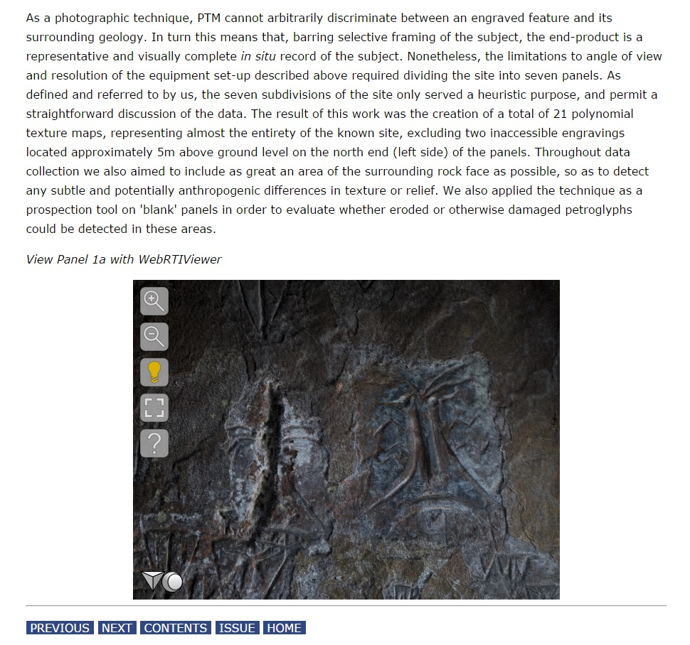 The WebRTIViewer showing Panel 1a from Urubici embeded in the Internet Archaeology article. © P. Riris, R Corteletti, Internet Archaeology.