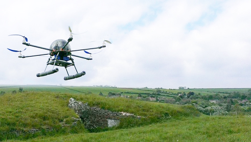 Hexacopter equipped to take near-vertical photographs