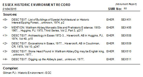 Fig 14: The monument record print-out for the chapter house at Waltham Abbey .