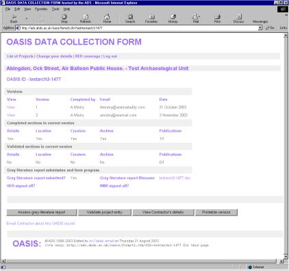 Figure 15: Example of a project summary page from the OASIS form.
