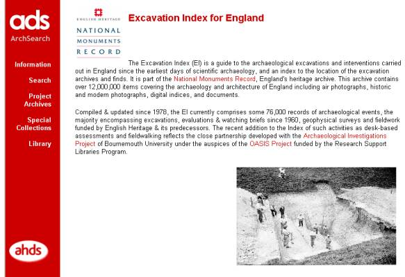 Figure 31: ADS web page – Excavation Index.