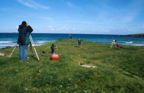 Figure 43: Unst Heritage Society surveying an eroding prehistoric mound in Shetland.