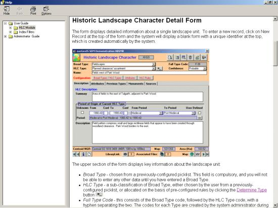 Figure 53: A screen capture of the HBSMR Help manual – this approach embeds the HLC within the HER.