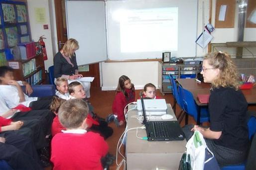 Figure 64: Rachel Shaw, Education Consultant, giving a talk on using the HER website to local school children, many of whom were far more adept at picking it up than most of the adults.