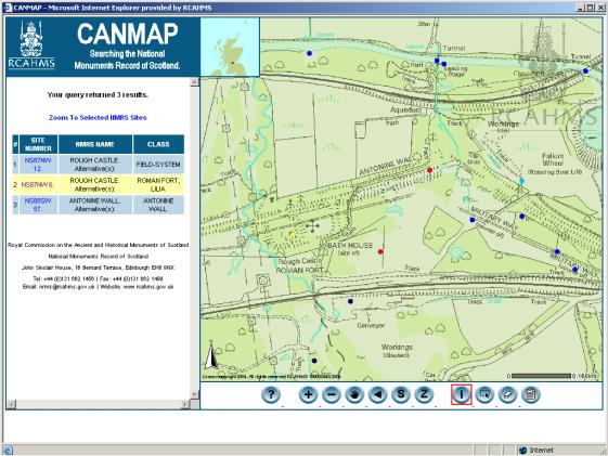 Figure 67: Site selection using a web-GIS browser: the RCAHMS CANMAP.