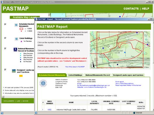 Figure 68: Completed search on Pastmap with map report on selected records.